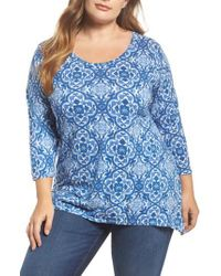 Lucky Brand - Blue Tile Print Top - Lyst
