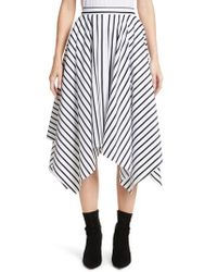 Adam Lippes - Multicolor Stripe Cotton Asymmetrical Skirt - Lyst