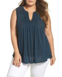 Lucky Brand - Blue Embroidered Mixed Media Shell - Lyst
