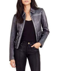 True Religion - Black Leather Jacket - Lyst