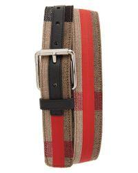 Burberry Red Roller Buckle Woven Belt for men