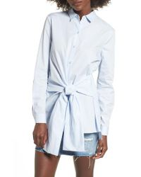 Lush | White Tie Front Tunic Shirt | Lyst