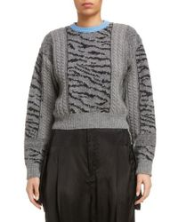 Toga - Gray Tiger Jacquard Knit Sweater - Lyst