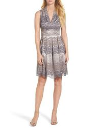 Vince Camuto - Gray Lace Fit & Flare Dress - Lyst