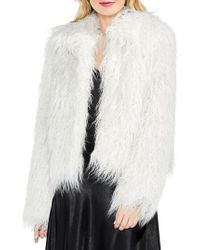 Vince Camuto | White Long Hair Faux Fur Jacket | Lyst