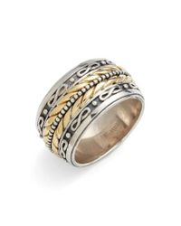 Konstantino   Metallic 'orpheus' Etched Band Ring for Men   Lyst