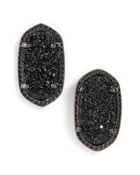 Kendra Scott - Black Ellie Oval Stone Stud Earrings - Lyst
