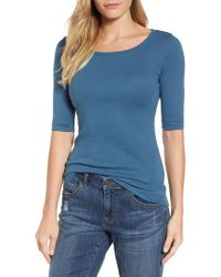 Caslon - Blue Caslon Ballet Neck Cotton & Modal Knit Elbow Sleeve Tee - Lyst