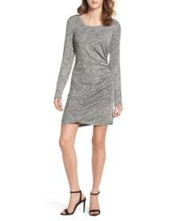 Love, Fire - Gray Ruched Knit Dress - Lyst
