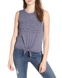 Lucky Brand - Blue Flag Tie Front Tank - Lyst