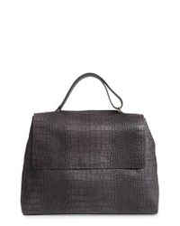 Orciani - Gray Large Sveva Croc Embossed Calfskin Leather Convertible Satchel - Lyst