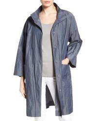 Eileen Fisher   Blue Organic Cotton Blend Coat   Lyst