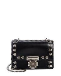 Balmain - Black Stud Glace Leather Box Shoulder Bag - Lyst