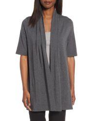 Eileen Fisher - Gray Tencel Kimono Cardigan - Lyst