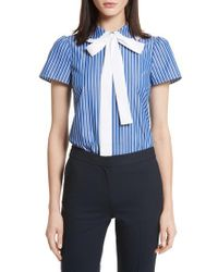 RED Valentino - Blue Tie Neck Stripe Cotton Poplin Top - Lyst