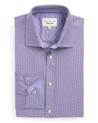 Ted Baker - Purple Chimy Trim Fit Geometric Dress Shirt for Men - Lyst