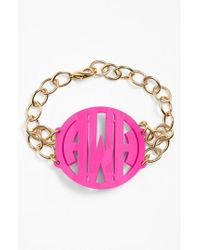 Moon & Lola - Metallic 'annabel' Large Personalized Monogram Bracelet - Lyst