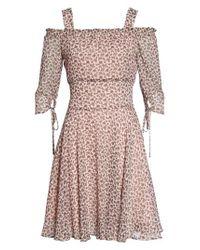 Sam Edelman - Pink Smocked Cold Shoulder A-line Dress - Lyst