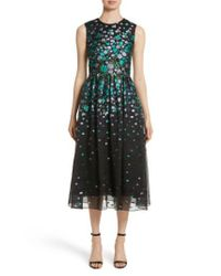 Lela Rose - Black Floral Matelasse Fit & Flare Dress - Lyst