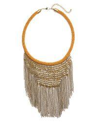Panacea - Metallic Antique Fringe Bib Necklace - Lyst