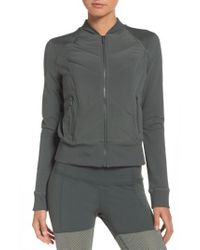 Zella - Gray Wear It Out Bomber Jacket - Lyst