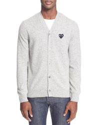 Play Comme des Garçons - Gray Lambswool Cardigan for Men - Lyst