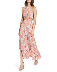 Nordstrom - Pink Floral Cutout Maxi Dress - Lyst