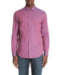 Emporio Armani - Multicolor Microcheck Classic Fit Sport Shirt for Men - Lyst