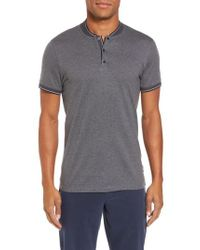 Ted Baker | Gray Moono Baseball Collar Polo for Men | Lyst