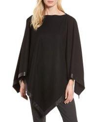 Eileen Fisher | Black Leather Trim Wool Poncho | Lyst