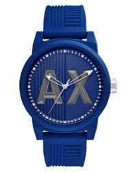 Armani Exchange - Blue Atlc Logo Silicone Strap Watch for Men - Lyst