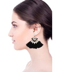 Saachi - Black Zelda Zircon & Tassel Detail Earrings - Lyst