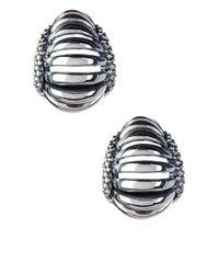 Lagos - Metallic Sterling Silver Signature Caviar Interlude Earrings - Lyst
