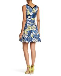Karen Millen - Blue Floral Printed Dress - Lyst