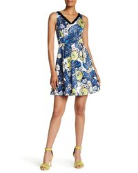 Karen Millen | Yellow Floral Printed Dress | Lyst