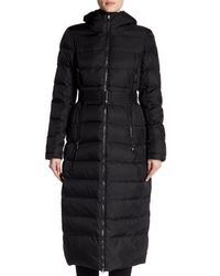 Vince Camuto Black Long Belted Down Coat