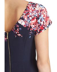 Adrianna Papell - Blue Floral Print Fit & Flare Dress (regular & Petite) - Lyst