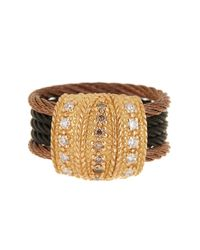 Alor | Metallic 18k Gold & Stainless Steel Cable Pave Champagne Diamond Ring - 0.33 Ctw - Size 6.5 | Lyst