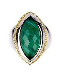 Lagos - Metallic 18k Gold Sterling Silver Malachite Doublet Ring - Size 7 - Lyst
