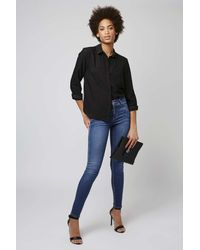 TOPSHOP - Blue 'leigh' Ankle Skinny Jeans - Lyst