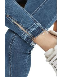 TOPSHOP | Moto Blue Split Hem Jamie Jeans | Lyst
