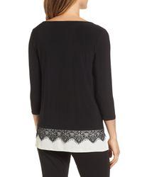 Chaus - Black Lace Trim Knit Top - Lyst