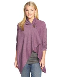 Bobeau - Purple One-button Fleece Wrap Cardigan - Lyst