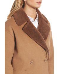 Trina Turk - Natural Dawn Genuine Shearling Collar Double Face Coat - Lyst