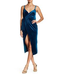 Haute Rogue Blue Sleeveless Velvet Midi Dress