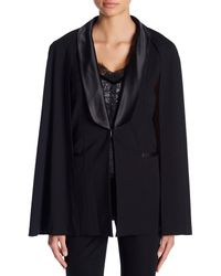 Laundry by Shelli Segal - Black Removable Cape Satin Trim Vest - Lyst