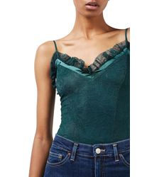 TOPSHOP | Green Frill Lace Bodysuit | Lyst