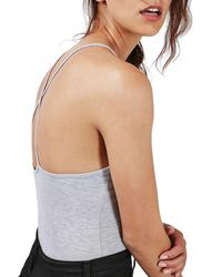 TOPSHOP   Gray 'pacifico' Strappy Bodysuit   Lyst