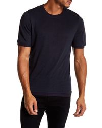Vince - Blue Ribbed Trim Short Sleeve Linen Sweatshirt for Men - Lyst