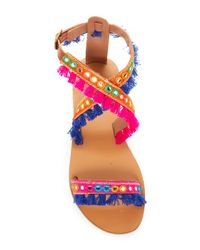 Mia Sara London - Multicolor Arena Embroidery Detail Sandal - Lyst